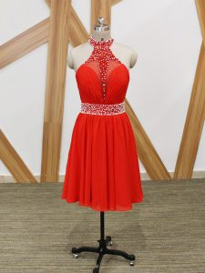 Modern Coral Red Zipper Prom Gown Beading and Ruching Sleeveless