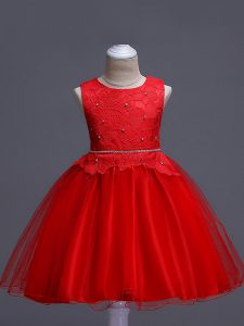 Organza Sleeveless Knee Length Girls Pageant Dresses and Lace