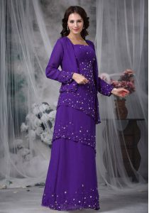 Eggplant Purple Chiffon Zipper Straps Sleeveless Floor Length Evening Dress Beading