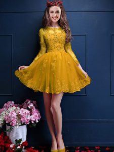 Gold Dama Dress Prom and Party with Beading and Lace and Appliques Scalloped 3 4 Length Sleeve Lace Up