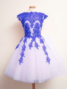 Unique Mini Length Lace Up Court Dresses for Sweet 16 Blue And White for Prom and Party and Wedding Party with Appliques