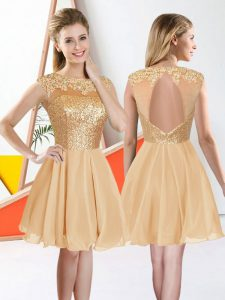 Enchanting Beading and Lace Quinceanera Dama Dress Champagne Backless Sleeveless Knee Length