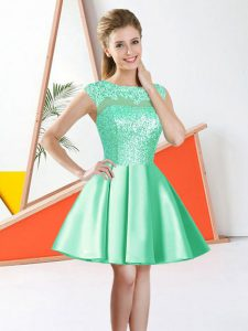 Beading and Lace Quinceanera Court of Honor Dress Apple Green Backless Sleeveless Knee Length
