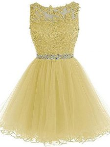 Super Light Yellow Sleeveless Mini Length Beading and Lace and Appliques Zipper Prom Gown
