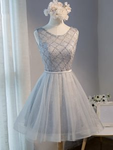 Excellent Mini Length Lace Up Evening Dress Grey for Prom and Party and Sweet 16 with Beading