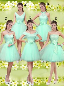 Knee Length Apple Green Quinceanera Court of Honor Dress Tulle Sleeveless Lace and Belt