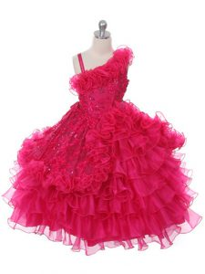 Hot Pink Lace Up Asymmetric Lace and Ruffles and Ruffled Layers Little Girls Pageant Gowns Organza Sleeveless