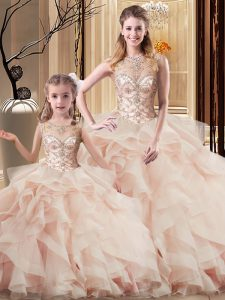 Peach Scoop Neckline Beading and Ruffles 15th Birthday Dress Sleeveless Lace Up