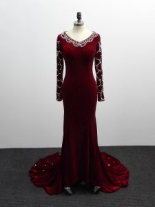 Fashion Long Sleeves Elastic Woven Satin Brush Train Zipper Prom Party Dress in Burgundy with Beading