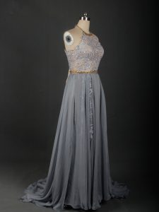 Hot Sale Grey Empire Beading and Appliques Prom Dress Lace Up Chiffon Sleeveless