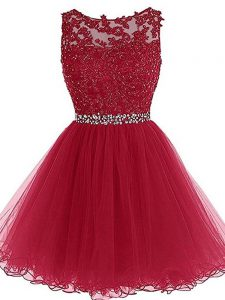 Modest Burgundy Tulle Zipper Sweetheart Sleeveless Mini Length Evening Dress Beading and Lace and Appliques