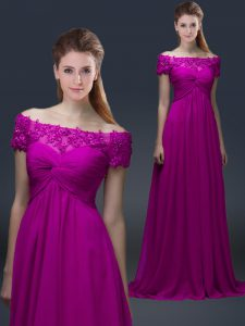 Adorable Fuchsia Off The Shoulder Lace Up Appliques Homecoming Dress Short Sleeves