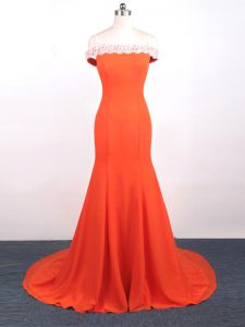 High End Mermaid Sleeveless Orange Red Evening Party Dresses Watteau Train Side Zipper