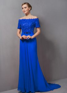 Delicate Zipper Prom Dresses Blue for Prom and Party with Lace Sweep Train