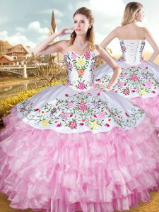 Lovely Sweetheart Sleeveless 15th Birthday Dress Floor Length Embroidery and Ruffled Layers Rose Pink Organza and Taffeta