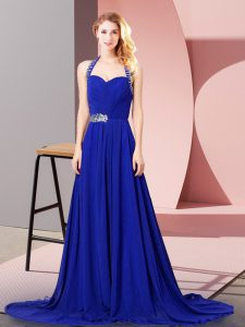 Extravagant Royal Blue Prom Dress Prom and Party and Military Ball with Beading and Ruching Halter Top Sleeveless Zipper