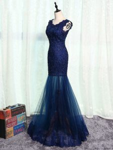 Dynamic Navy Blue Mermaid Tulle Scoop Sleeveless Beading and Lace and Appliques Floor Length Zipper Prom Evening Gown