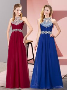 Elegant Chiffon Halter Top Sleeveless Backless Beading Prom Evening Gown in Wine Red