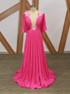 Comfortable Hot Pink Empire V-neck Half Sleeves Chiffon Sweep Train Backless Lace and Appliques and Pleated Homecoming Dresses