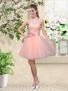 Attractive Peach A-line Tulle Halter Top Sleeveless Lace and Belt Knee Length Lace Up Dama Dress