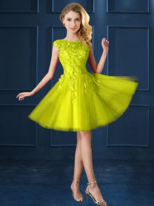 Bateau Cap Sleeves Court Dresses for Sweet 16 Knee Length Lace and Appliques Yellow Tulle