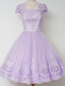 Square Cap Sleeves Tulle Dama Dress Lace Zipper