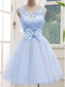 Dazzling Lavender Lace Up Quinceanera Court Dresses Lace Sleeveless Knee Length
