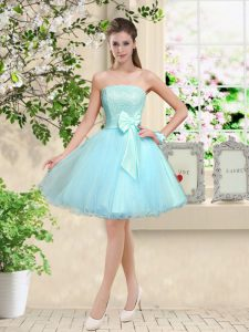 ebd18a76d9f Fashion Aqua Blue Organza Lace Up Quinceanera Court of Honor Dress Sleeveless  Knee Length Lace and