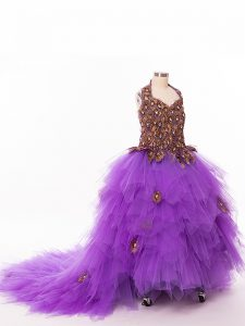 Eggplant Purple Pageant Gowns For Girls Tulle Court Train Sleeveless Ruffles