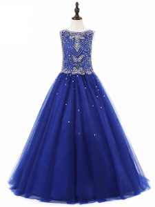 Floor Length A-line Sleeveless Royal Blue Kids Formal Wear Lace Up