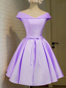 Flare Knee Length A-line Cap Sleeves Lavender Court Dresses for Sweet 16 Lace Up