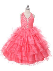 Beautiful Floor Length Ball Gowns Sleeveless Coral Red Little Girl Pageant Dress Lace Up