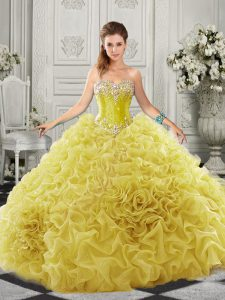 Yellow Quinceanera Dresses Military Ball and Sweet 16 and Quinceanera with Beading and Ruffles Sweetheart Sleeveless Court Train Lace Up
