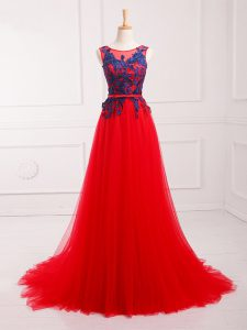 Spectacular Red Scoop Sleeveless Brush Train Lace Up