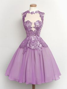 Lilac High-neck Lace Up Lace Court Dresses for Sweet 16 Sleeveless