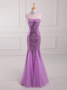 Popular Sleeveless Lace Up Floor Length Beading and Sequins Evening Wear