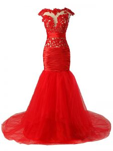 Vintage Red Zipper Dress for Prom Lace and Appliques and Ruching Cap Sleeves Brush Train