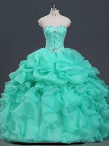 Amazing Apple Green Lace Up Quinceanera Dresses Beading and Ruffles and Pick Ups Sleeveless Floor Length
