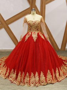 On Sale Scoop Long Sleeves Ball Gown Prom Dress Court Train Beading and Appliques Wine Red Tulle