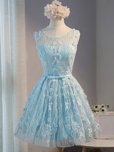 Light Blue Sleeveless Mini Length Lace and Appliques Lace Up Hoco Dress