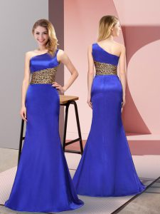 Luxury One Shoulder Sleeveless Side Zipper Prom Dresses Royal Blue Elastic Woven Satin