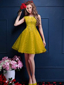 Wonderful Yellow Sleeveless Beading and Lace Knee Length Dama Dress for Quinceanera