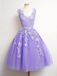 Dramatic Lavender Sleeveless Knee Length Lace Lace Up Dama Dress for Quinceanera