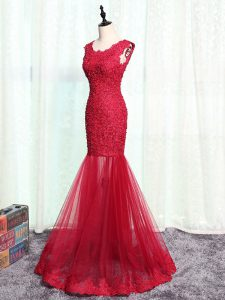 Red Sleeveless Lace and Appliques Floor Length Prom Gown