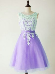 Flare A-line Court Dresses for Sweet 16 Lavender Scoop Tulle Sleeveless Knee Length Lace Up
