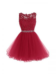 Exquisite Burgundy Sleeveless Mini Length Beading and Lace and Appliques Zipper Party Dresses