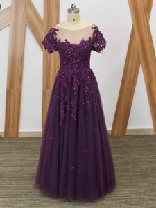 Purple Tulle Zipper Homecoming Dress Short Sleeves Floor Length Lace and Appliques