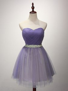 Customized Lavender Lace Up Sweetheart Beading and Ruching Quinceanera Dama Dress Tulle Sleeveless