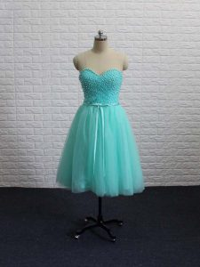 Apple Green A-line Sweetheart Sleeveless Tulle Mini Length Lace Up Beading Junior Homecoming Dress