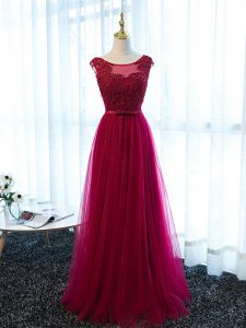 Sumptuous Fuchsia Scoop Neckline Beading and Lace and Appliques and Belt Prom Party Dress Sleeveless Lace Up